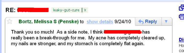 Leaky Gut Syndrome Testimonial